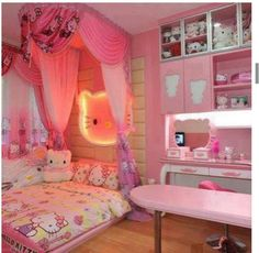 decorating your child's bedroom into Hello Kitty bedroom theme. There are several ways to create Hello Kitty bedroom theme. Hello Kitty Bedroom, Cat Bedroom, Bedroom Decor, Bedroom Ideas, Hello Kitty Room Decor, Bedroom Stuff, Bedroom Designs, Bedroom Furniture, Bedroom Design For Teen Girls