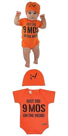 Other Baby and Toddler Clothing 1070: Sozo Unisex-Baby Newborn Nine Months Bodysuit And Cap Set, Orange Black, 3-6 -> BUY IT NOW ONLY: $31.97 on eBay!