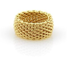 Pre-owned Tiffany & Co. 18K Yellow Gold Somerset Wide Mesh Band Ring ($1,250) ❤ liked on Polyvore featuring jewelry, rings, 18k ring, thick band rings, cocktail rings, 18k yellow gold ring and dome ring