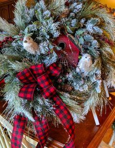 Christmas Wreaths Portfolio - Professional Wreath Designs Christmas Swags, Christmas Ribbon, Holiday Wreaths, Christmas Crafts, Christmas Decorations, Christmas Ideas, Winter Wreaths, Outdoor Decorations, Holiday Decorating