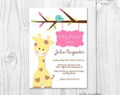 Items similar to Baby Shower Giraffe invitation, baby shower giraffe theme, giraffe baby shower girl invite on Etsy Baby Shower Giraffe, Baby Shower Niño, Baby Shower Invites For Girl, Baby Shower Cards, Baby Shower Favors, Baby Boy Shower, Baby Shower Invitations, Baby Shower Gifts, Giraffe Party