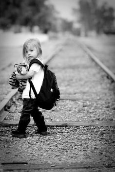 Little girl on railroad track...nooooo, don't do it...you have so much to live for...