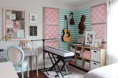 Attractive Kids Music Bedroom Design Ideas To Try This Year Room Ideas Bedroom, Bedroom Themes, Room Decor, Ikea Bedroom, Teenage Girl Bedrooms, Girls Bedroom, Blue Girls Rooms, Music Bedroom, Turquoise Room