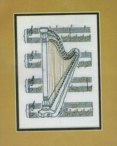 "Blackwork Harp Cross Stitch Kit - 6.5"" x 4.75"""