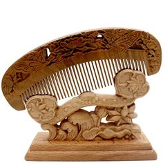 YOY Handmade Carved Natural Sandalwood Hair Comb  Antistatic No Snag Brush for Mens Mustache Beard Care Anti Dandruff Women Girls Head Hair Accessory HC1009 * Check out this great product.