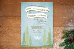 In the Woods Wedding Invitations by Bleu Collar Paperie at minted.com