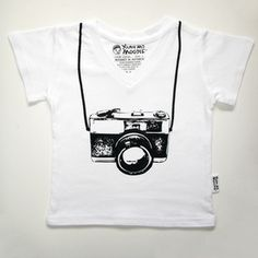 Retro Camera t-shirt in white - sizes 00-2 . Please see separate listing for sizes 4,6 and 8. by Young and Moodie