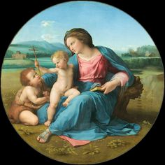 Raffaello Santi : The Alba Madonna (National Gallery of Art - Washington DC (United States - Washington)) 1483 - 1520 ラファエロ・サンティ Renaissance Kunst, Renaissance Artists, Renaissance Paintings, Italian Renaissance, Michelangelo, Madonna Art, Madonna And Child, Virgin Mary, Queen