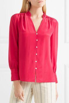 Red silk-georgette Slips on silk Dry clean Imported See By Chloe, Kurti, Roast, J Crew, Red Silk, Orange, Sleeves, Sweaters, Pants