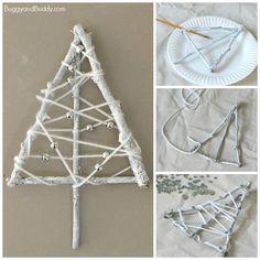Winter Tree Craft for Kids Using Yarn Wrapped Sticks