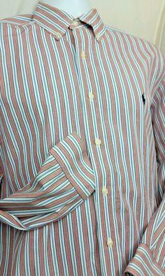 Ralph Lauren Yarmouth Casual Dress Shirt Mens 16 33 Striped Blue Pale Red White #RalphLauren