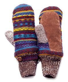 MUK LUKS--GORGEOUS!!!  LOVES 'EM!!!   Look at this #zulilyfind! Brown Vintage Sweater Mittens #zulilyfinds