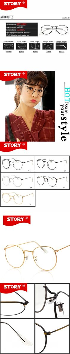 STORY Fashion Gold Metal Frame Eyeglasses Women Vintage Glasses Clear Lens Optical Frames oculos de grau feminino with Pouch
