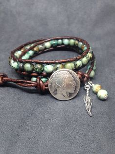 Southwestern Bracelet, Native American double wrap with African Turquoise on Leather, Indian Head nickle button, Unisex bracelet. by KarenMSmithDesigns on Etsy
