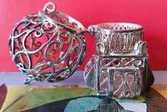 Antique French Silver Filigree Globe 1910 Art Nouveau Pendant by PinyolBoiVintage on Etsy