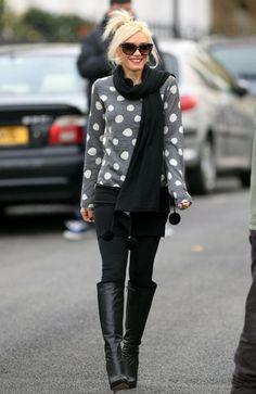 gray polka dot sweater black jeans