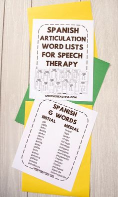 Get Spanish Articulation Words Lists (for F, CH, K, G, L, S, R & Blends) for free by joining my list!