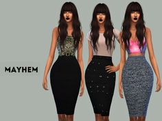 Pencil Skirt Set 01 by NataliMayhem at TSR via Sims 4 Updates