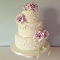 Vintage rose and bunting wedding cake