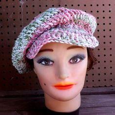 Crochet Hat Womens Hat Trendy Crochet Beanie Hat Cotton Hat Newsboy Hat Women Pink Hat ANNIE Newsboy Hat by strawberrycouture by #strawberrycouture on #Etsy
