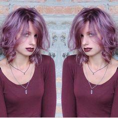 Purple Messy Bob Hairstyle