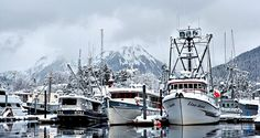 Boats sit in Sitka Harbor in the winter, awaiting good weather and fishing. - Photo by WillYG