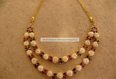 Gold Pearls Necklace With Rubys, Gemstones ~ Latest Indian Clothing And Jewellery Designs