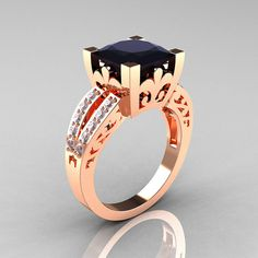 French Vintage 14K Rose Gold 3.8 Carat Princess by DesignMasters, $1529.00