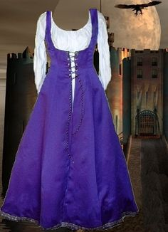 Of course I have to pin it cuz it's purple.  Renaissance Costume Medieval SCA Garb Purple FrtLacng Gown 6Gore Flaired SzFlex Surcote. $50.00, via Etsy.