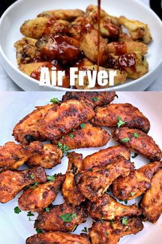 Air Fryer Breaded Honey BBQ Fried Chicken Wings is a quick and easy recipe for crispy and crunchy wings. You can even make chicken thighs if you prefer. This recipe includes the cook time and instructions on how long to cook frozen wings. Air Fryer Recipes Breakfast, Air Fryer Oven Recipes, Air Frier Recipes, Air Fryer Dinner Recipes, Recipes For Airfryer, Air Fryer Recipes Videos, Grilling Recipes, Bbq Fried Chicken, Honey Bbq Chicken Wings