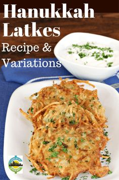 The most delicious part of Hanukkah is latkes — potato pancakes fried in sizzling oil. They are easy to make and are most typically served with sour cream and apple sauce. But there are other variations as well. Potato Latkes, Potato Pancakes, Kosher Recipes, Healthy Recipes, Yummy Recipes, Frugal Meals, Easy Meals, Christmas Party Food, Cheap Christmas