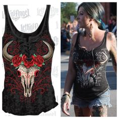 D.O.D Western Skull Lace Up Tank-Top