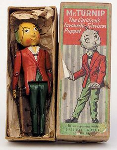"""7"""" pewter Mr. Turnip jointed puppet toy (with strings) in box, based on the character from the BBC's Saturday children's program Whirligig, United Kingdom, 1954-55, by Barrett & Sons for Luntoy. Puppet Costume, Marionette Puppet, Puppet Toys, James Ensor, Shadow Puppets, Glove Puppets, Puppet Show, Old Toys, Toy Boxes"""