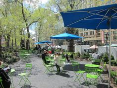 Today we've rolled out the bistro tables, chairs, and umbrellas to the seating areas we installed in and around the park. Table And Chairs, Tables, The Bistro, Union Square, Landscape Design, The Neighbourhood, Patio, Outdoor Decor, Green