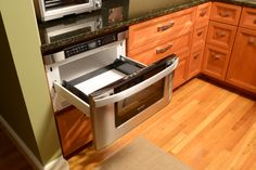 Kitchen Renovation, Northampton, MA. Pull out Microwave. Stephen Ross, General Contractor.