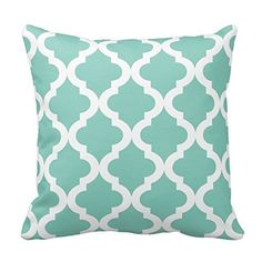amazoncom chevron pattern mint green and white moroccan quatrefoil design throw pillow