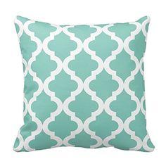 Amazon.com - Chevron Pattern - Mint Green and White Moroccan Quatrefoil Design Throw Pillow Classic Stripes Pattern For Decoration Pillow Case Zipper Pillow Cover Brief Design Pillowcase Cover -