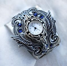 Silver Wings Watch cuff BLUE crystal Ladies Watch Gothic Jewelry