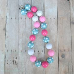 Aqua, Pink and White Solid and Polka Dot Chunky Beads Girls Necklace - Bubblegum Bead Necklace - Little Girls Chunky Necklace
