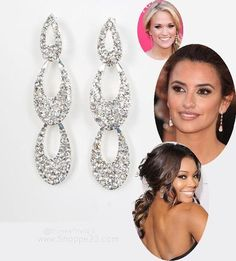"""Sparkling Silver Chandelier Earrings <3  2 1/4"""" Lg Celebrity Inspired Bridesmaid Jewelry Boxed $15.00 Free USA Shipping"""