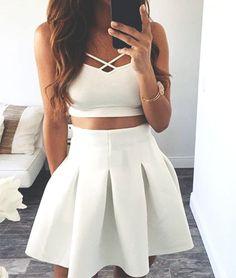 Lovely Mini White Dress,Two Piece Spaghetti Straps Homecoming Dress