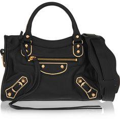 Balenciaga Classic Metallic Edge City Mini Textured-Leather Shoulder Bag