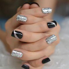 Black Nails With Glitter, Silver Nails, Glitter Nails, Silver Glitter, Glitter French Nails, Long Black Nails, White Nails, Fancy Nails, Pretty Nails