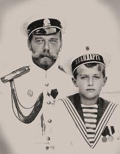Tsar Nicholas II (Nikolay Alexandrovich Romanov) (1868-1918) Russia & 5th child & only son Tsarevich Alexei Nikolaevich Romanov (1904-1918) Russia