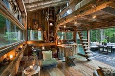 I wood cabin in the forest