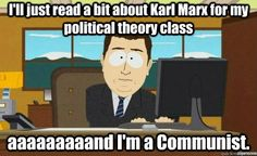 ill just read a bit about karl marx for my political theory class ...