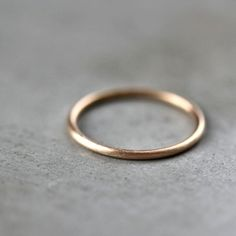 Women's Slim Gold Wedding Band, Skinny Round Recycled 14k Yellow Gold Ring Brushed Gold Wedding Ring or Stacking - Ready to Ship in Size 6