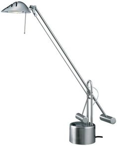 "Normande Brushed Steel Halogen Desk Lamp (Not CA Compliant) by Normande. $39.99. Halogen desk lamp comes complete with a 50W halogen bulb. Contemporary counterbalance design adjusts to numerous heights up to 24.5""."