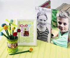 funky magazine file, frame, and pencil cup collection adorned with vibrant accents and family photos.                      Editor's Tip: For an easy personalized gift, jazz up a purchased white photo mat with colorful letter stickers that complement a favorite photo  Would be great in black and white, also to put schoolwork and other papers in.