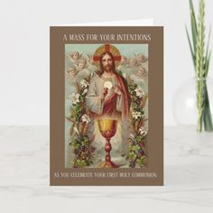 Traditional Catholic Mass Offering Sacred Heart Card Angel Flowers, Catholic Mass, Eucharist, First Holy Communion, Heart Cards, Plant Design, Sacred Heart, Custom Greeting Cards, Card Sizes